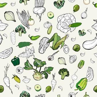 Vegetais de padrão de mão desenhada.