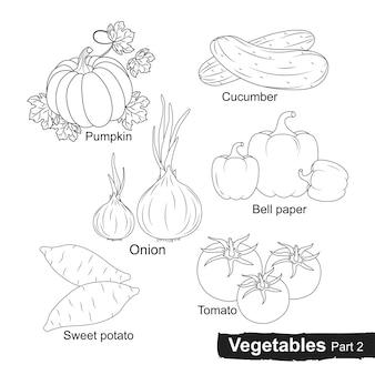Vegetais desenhados à mão coleção - parte 2