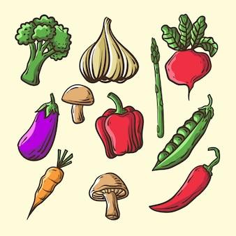 Vegetais desenhados à mão