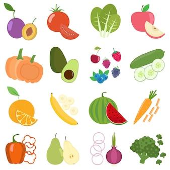 Vegetais e frutas coloridas planas