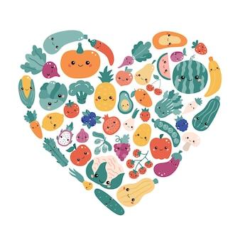 Vegetais e frutas kawaii em forma de coração