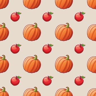Vegetais e frutas maçã e abóbora sem costura padrão para têxteis imprimir ilustrações brilhantes