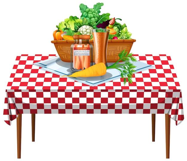 Vegetais e frutas na mesa com toalha de mesa quadriculada