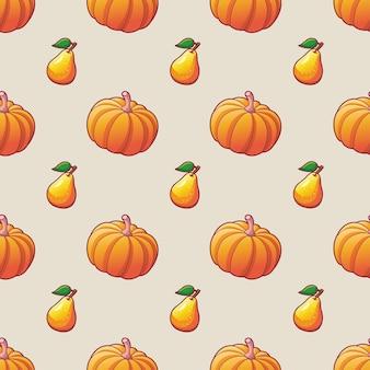 Vegetais e frutas padrão sem emenda para ilustrações de impressão em têxteis de abóbora madura e pêra