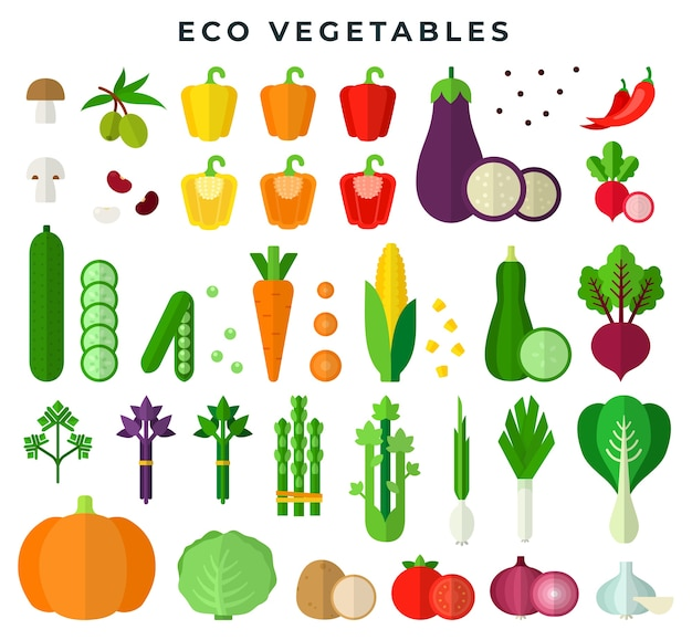Vegetais ecológicos em conjunto de design plano colorido
