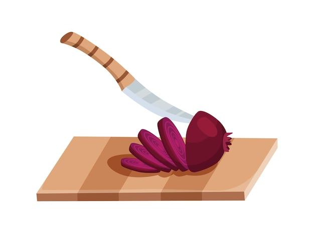 Vegetais fatiados. cortar a cebola com a faca. corte na placa de madeira, isolada no fundo branco. prepare-se para cozinhar. nutrição fresca picada em estilo simples de desenho animado.