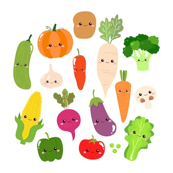 Vegetais fofos com coleção de rosto design plano