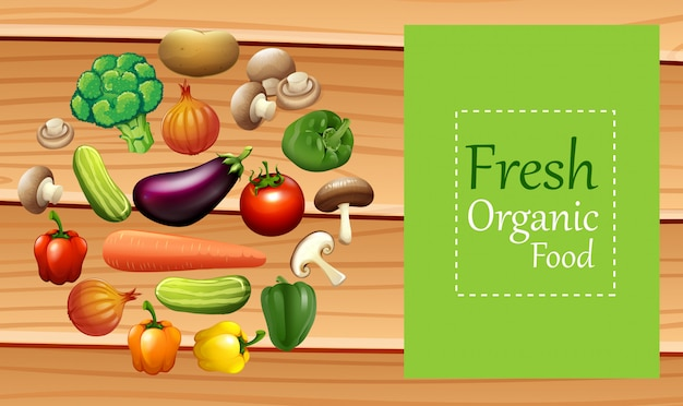 Vegetais misturados no cartaz