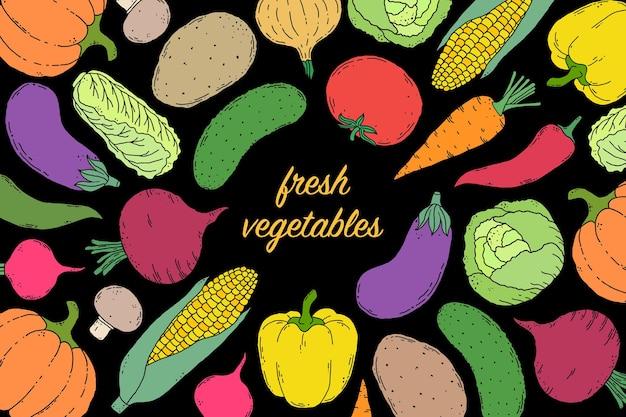 Vegetais na mão desenhada estilo