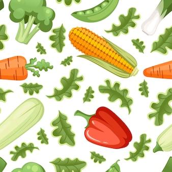 Vegetais naturais com folhas verdes sem costura padrão ilustração vetorial plana sobre fundo branco.