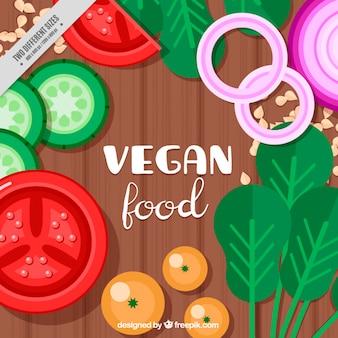 Vegetais no fundo da tabela