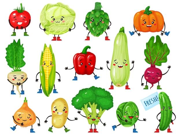 Vegetais personagens fofos brócolis tomate abóbora pepino milho repolho com rostos sorridentes mascotes