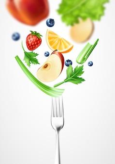 Vegetal 3d de comida saudável de vetor no garfo de prata