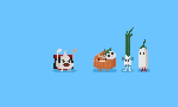 Vegetal de pixel com desenhos animados de traje de halloween