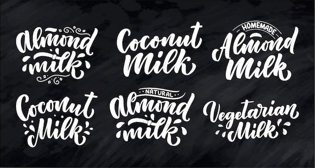 Vegetariano, coco, citações de letras de leite amêndoa. alimentos saudáveis de nutrição orgânica.
