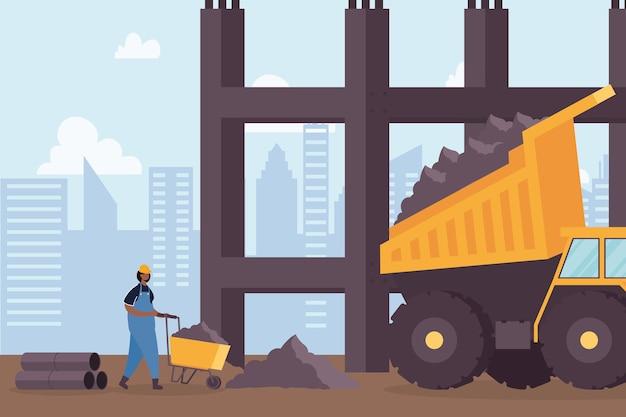 Veículo basculante de construção e construtor em design de ilustração vetorial de cena de local de trabalho