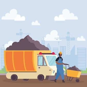 Veículo basculante de construção e construtor em design de ilustração vetorial de local de trabalho