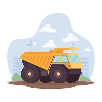 Veículo basculante de construção em design de ilustração vetorial de cena de local de trabalho