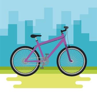 Veículo de bicicleta com fundo de paisagem urbana