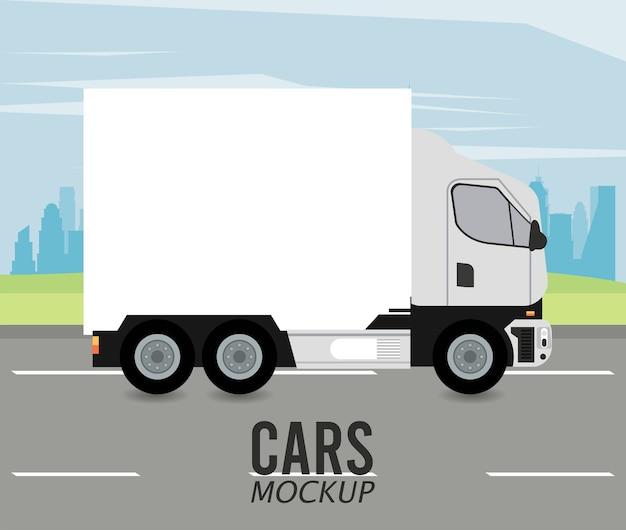 Veículo de caminhão maquete na estrada