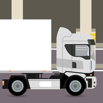 Veículo de caminhão maquete na zona de estacionamento