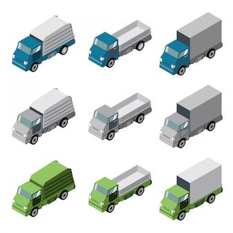 Veículo de carro isométrico caminhões