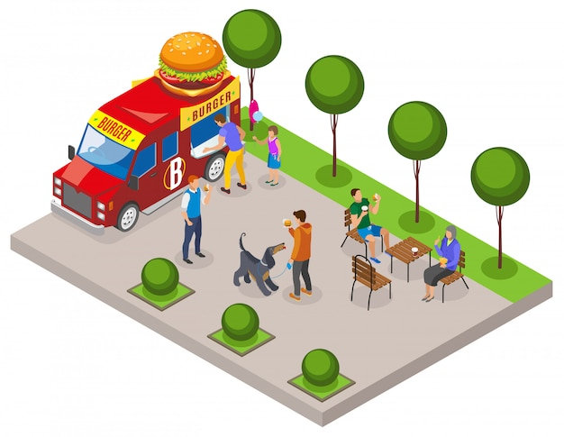 Veículo de comida de rua com comércio de hambúrguer com área de cliente para comer composição isométrica