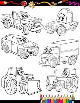 Veículo de desenho animado definido para colorir livro