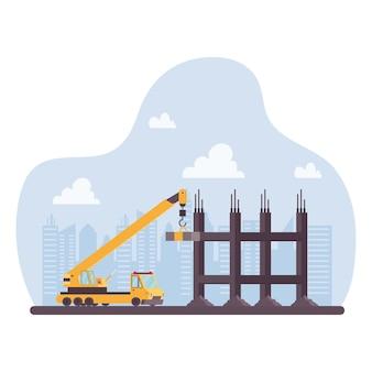 Veículo de guindaste de construção em design de ilustração vetorial de cena de local de trabalho