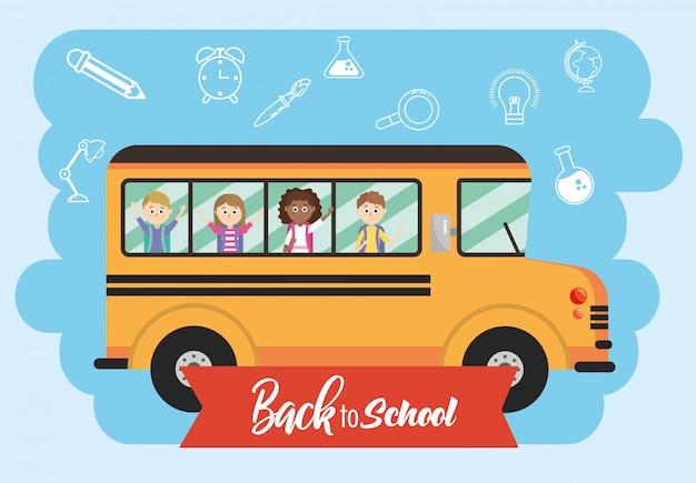 Veículo de ônibus escolar com transporte de estudantes