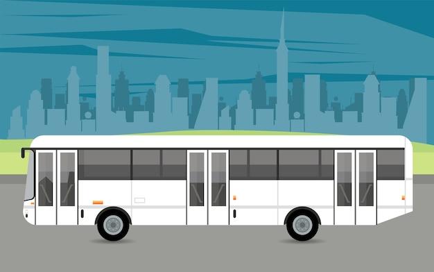 Veículo de ônibus maquete branco