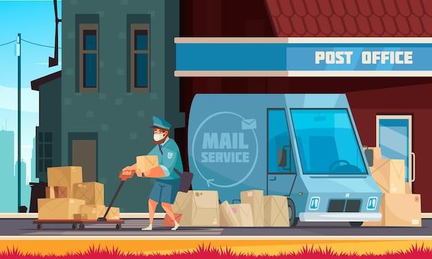Veículo de serviço de correio em frente à ilustração do carteiro puxando o carrinho