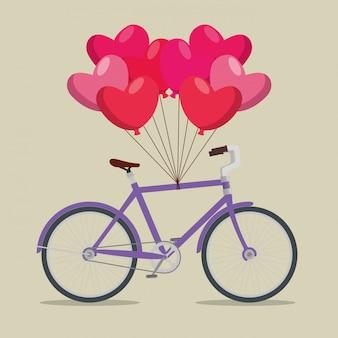 Veículo de transporte de bicicleta com balões de corações