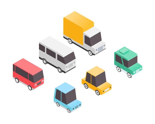 Veículo definido em ilustração vetorial isométrica conjunto de transporte transporte urbano com carro van caminhão ilustração vetorial