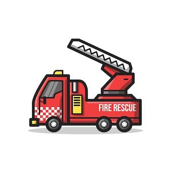 Veículo do departamento de resgate de bombeiros com escada em uma ilustração de arte de linha minimalista exclusiva