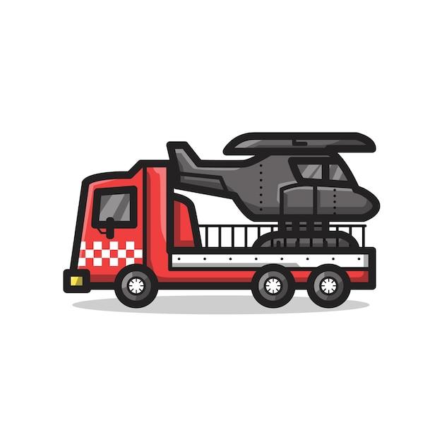 Veículo do departamento de resgate de bombeiros com helicóptero em uma ilustração de arte de linha minimalista única