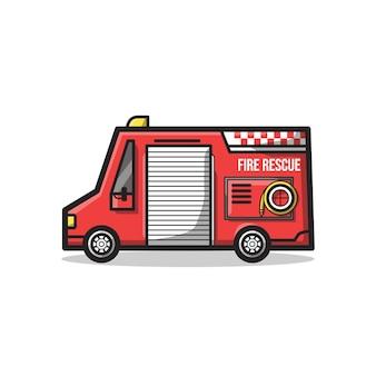 Veículo do departamento de resgate de bombeiros com tubo de incêndio em uma ilustração de arte de linha minimalista exclusiva