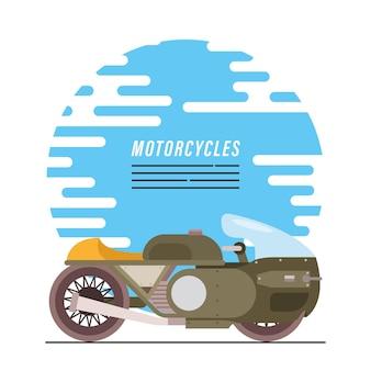 Veículo e letras verdes de estilo militar de motocicleta