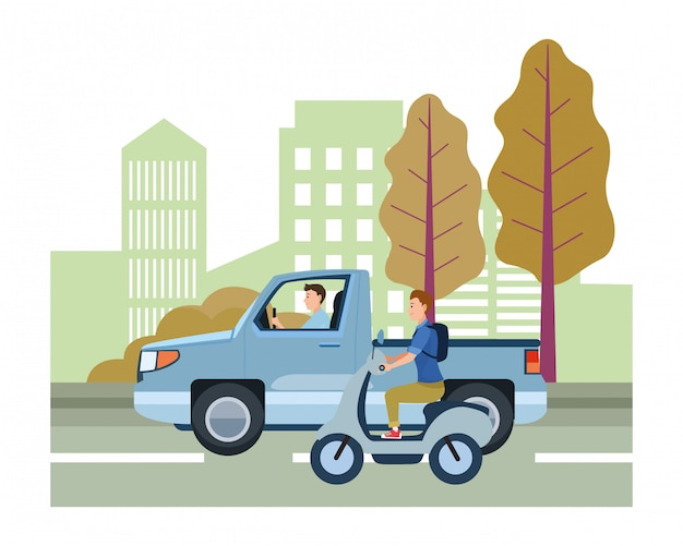 Veículo e moto com motoristas andando