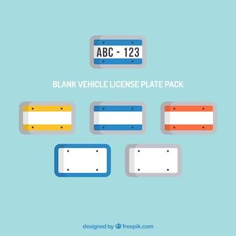 Veículo em branco pacote da placa de licença