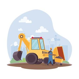 Veículo escavadeira de construção e construtor afro em design de ilustração vetorial de cena de local de trabalho