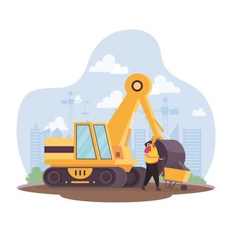 Veículo escavadeira de construção e construtor em design de ilustração vetorial de cena de local de trabalho