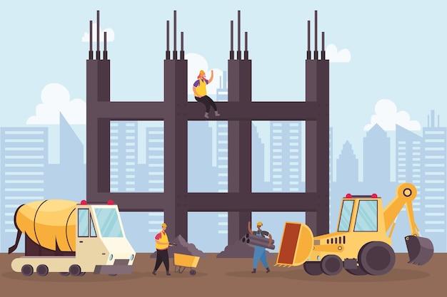 Veículo escavadeira de construção e misturador com desenho de ilustração vetorial de cena de trabalhadores