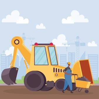 Veículo escavadeira de construção e trabalhador com design de ilustração vetorial de carrinho de mão