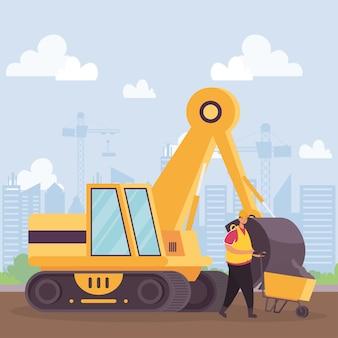 Veículo escavadeira de construção e trabalhador com design de ilustração vetorial de cena de carrinho de mão