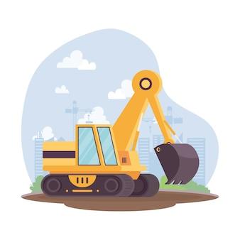 Veículo escavadeira de construção em design de ilustração vetorial de local de trabalho
