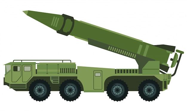 Veículo militar com carro lançador de foguetes