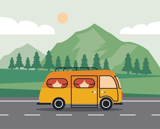 Veículo recreativo na cena da estrada