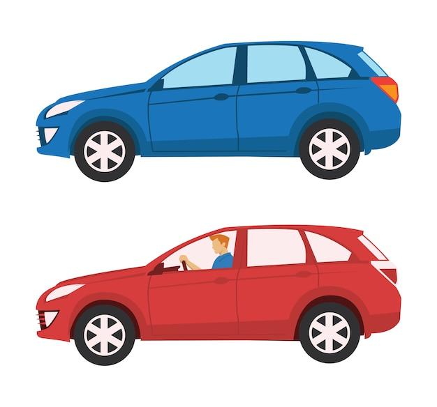 Veículo utilitário esportivo grande azul e vermelho com jovem motorista