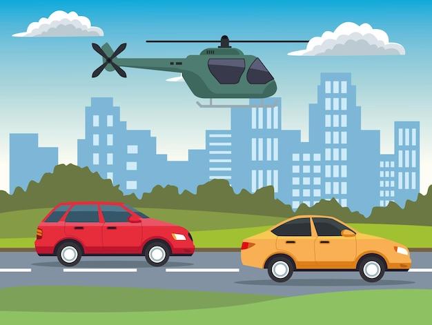 Veículos automóveis amarelos e vermelhos e helicópteros na cidade